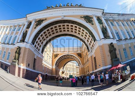 Arch Of The General Staff Building On Palace Square In St. Petersburg, Russia