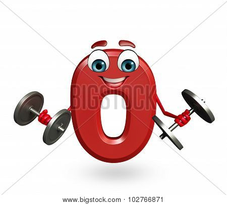 Cartoon Character Of Zero Digit With Weights