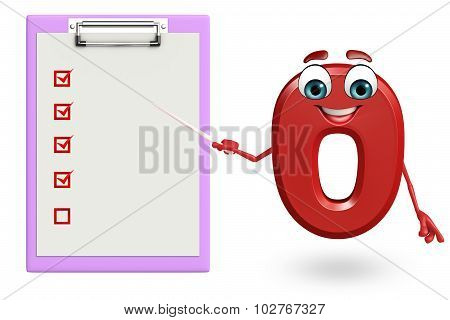 Cartoon Character Of Zero Digit With Notepad