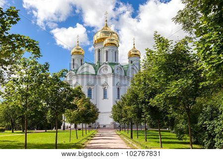 Orthodox Catherine's Cathedral In Pushkin Town (tsarskoye Selo) In Summer Sunny Day