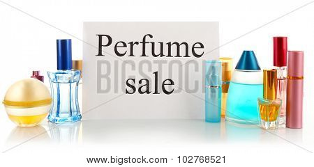 Perfume bottles for sale, isolated on white