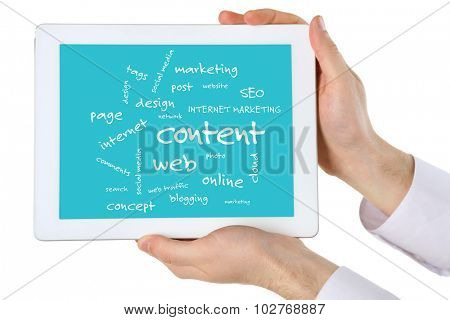 Connected words on touch-screen tablet-pc, isolated on white
