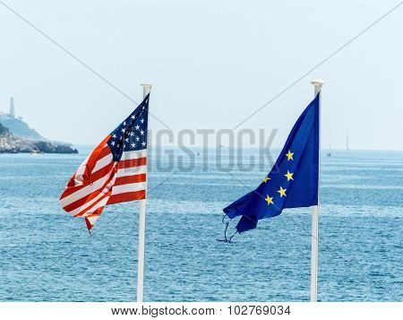 flags of the european union and the united states, symbolfoto for partnership, diplomacy, foreign policy