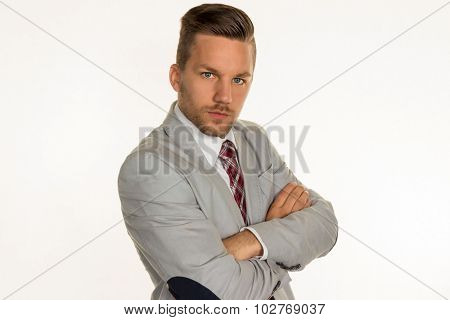 a man (manager or unsternehmer) stands in front of a white background