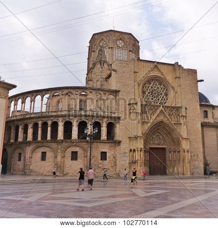 VALENCIA, SPAIN - SEPTEMBER 12, 2015: Valencia Cathedral dedicated to Virgin Mary. Built between 1252 and 1482 on the site of a mosque and previously a roman temple dedicated to goddess Diana.