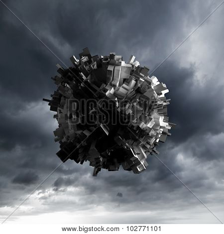 Abstract Flying Object With Chaotic Surface
