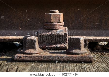 old rusted screw. rusty railroad.aged metal.