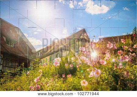 Alsace Houses With Flowers And Sun Flares
