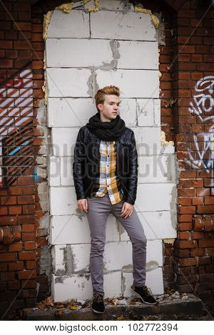 Fashion Male Portrait On Urban Wall