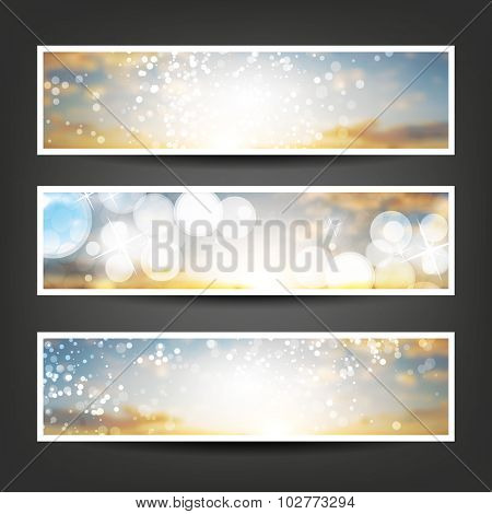 Set of Horizontal Banner / Cover Background Designs - Colors: Blue, Orange, White - Party, Christmas, New Year or Other Holiday Ad Banner Templates