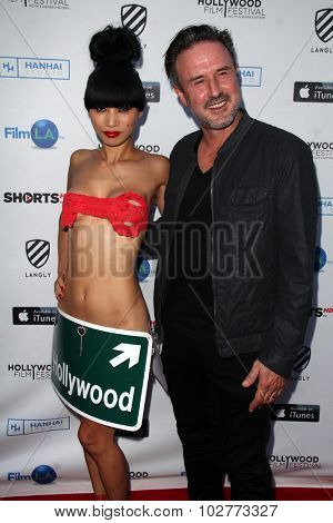LOS ANGELES - SEP 24:  Bai Ling, David Arquette at the Hollywood Film Festival Opening Night Red Carpet at the ArcLight Theater on September 24, 2015 in Los Angeles, CA