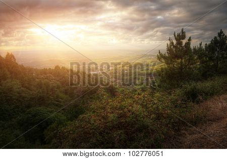 View of portuguese remote countryside landscape