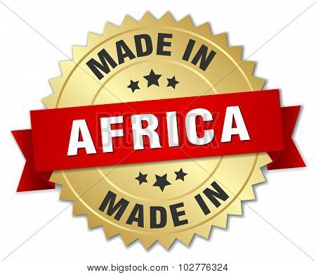 Made In Africa Gold Badge With Red Ribbon