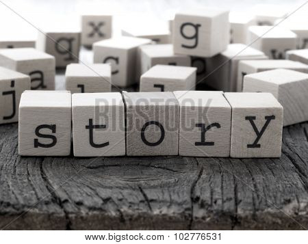 STORY word made of wooden letters