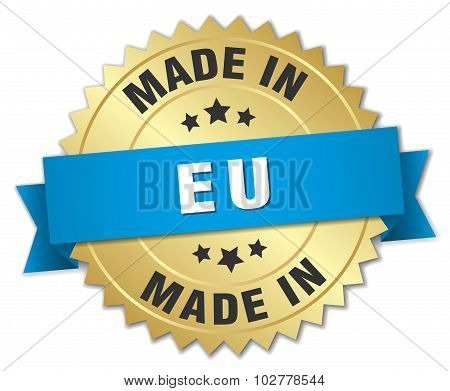 Made In Eu Gold Badge With Blue Ribbon