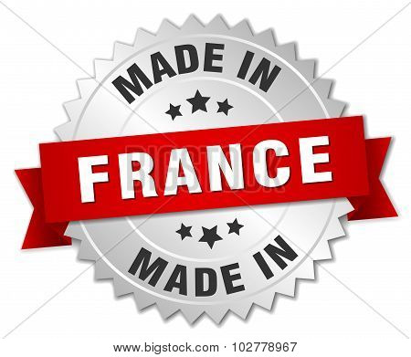 Made In France Silver Badge With Red Ribbon