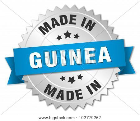 Made In Guinea Silver Badge With Blue Ribbon