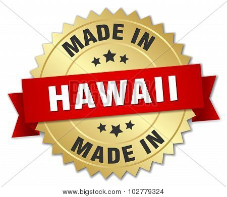 Made In Hawaii Gold Badge With Red Ribbon