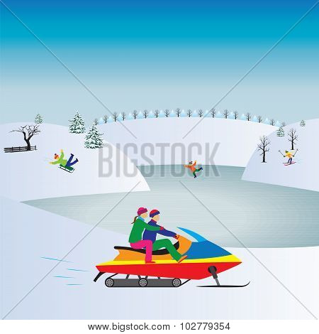 Couple  On A Snowmobile. Winter, Christmas Vacation.