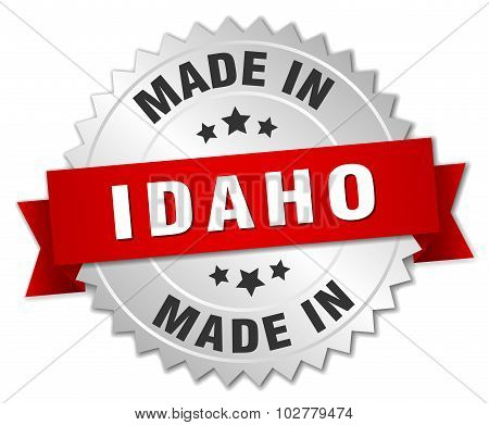 Made In Idaho Silver Badge With Red Ribbon