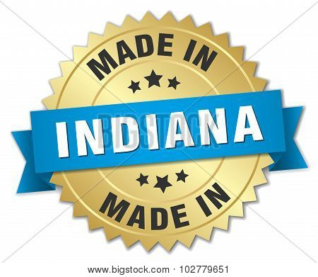 Made In Indiana Gold Badge With Blue Ribbon