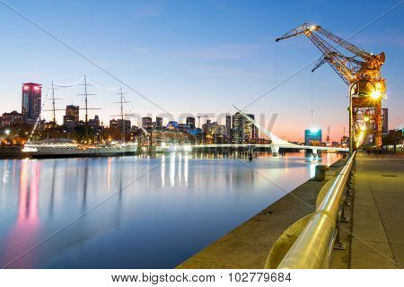 Puerto Madero At Night, Harbor Of Buenos Aires Argentina