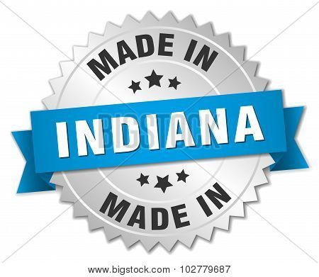Made In Indiana Silver Badge With Blue Ribbon