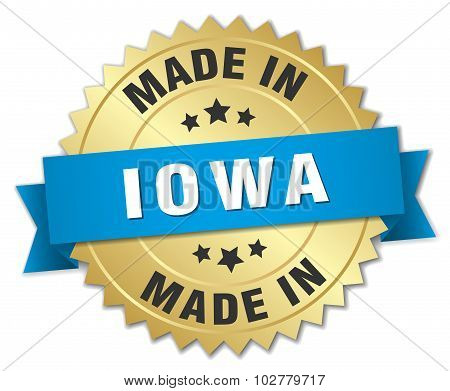 Made In Iowa Gold Badge With Blue Ribbon