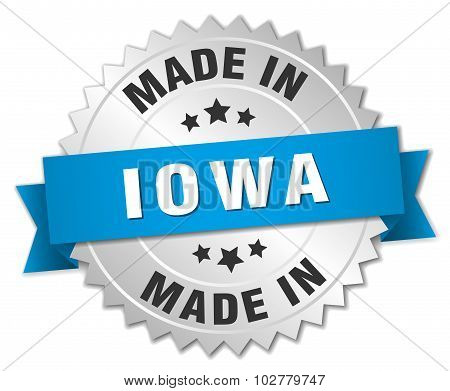 Made In Iowa Silver Badge With Blue Ribbon