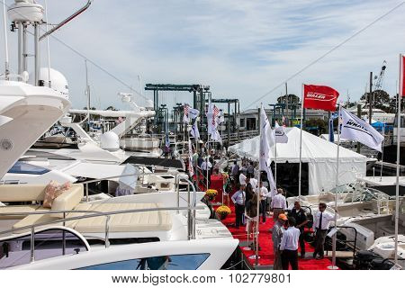 NORWALK, CT - SEPTEMBER 25: Norwalk Boat Show with visitors at Norwalk boat show in September 25, 2015 in Norwalk, CT.