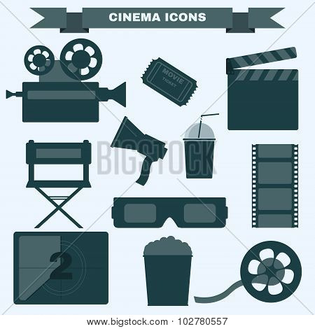 Cinema Black And White Icon Set