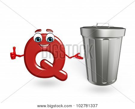 Cartoon Character Of Alphabet Q With Dustbin