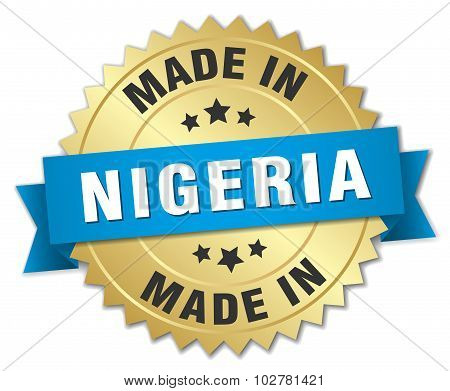 Made In Nigeria Gold Badge With Blue Ribbon