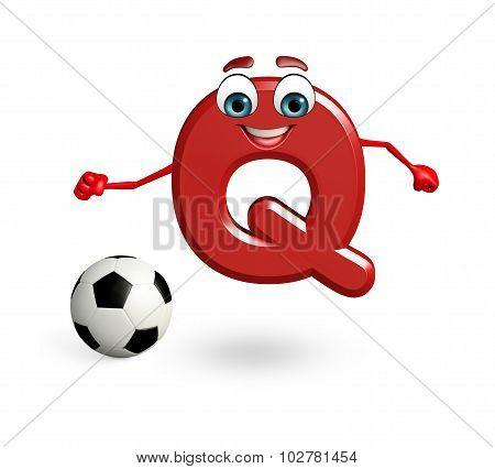 Cartoon Character Of Alphabet Q With Football