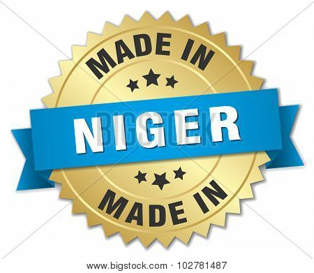 Made In Niger Gold Badge With Blue Ribbon