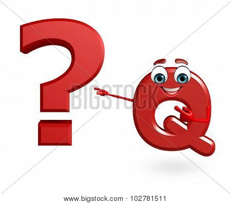 Cartoon Character Of Alphabet Q With Question Mark