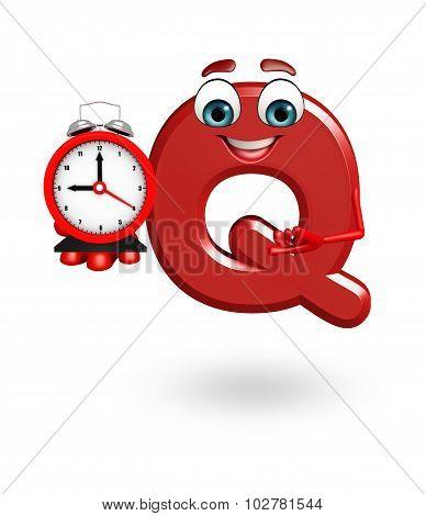 Cartoon Character Of Alphabet Q With Clock