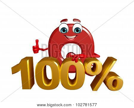 Cartoon Character Of Alphabet Q With Percentage Sign