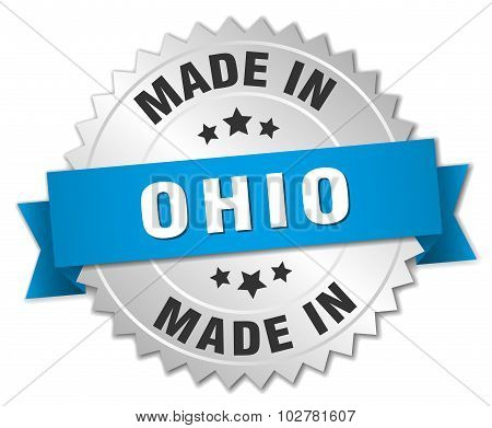 Made In Ohio Silver Badge With Blue Ribbon