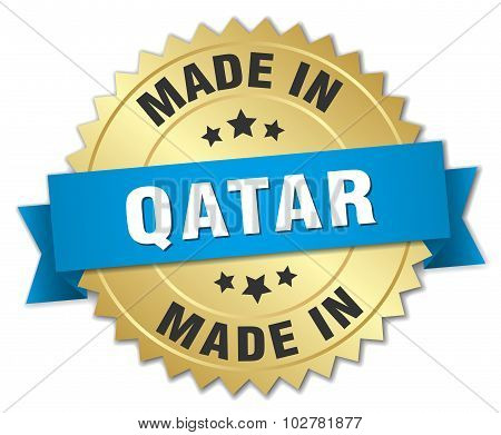 Made In Qatar Gold Badge With Blue Ribbon