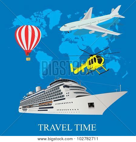 travel time concept, trip, around the world,