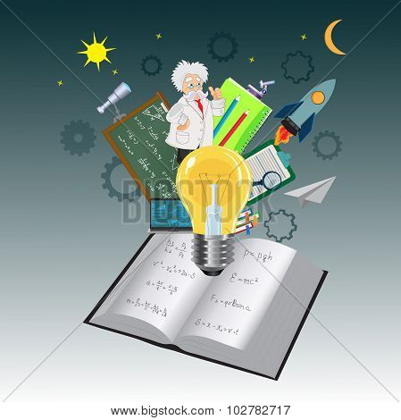Education, object, coming, out, book, knowledge, vector illustration in flat design for web sites