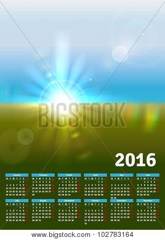 Calendar 2016 With Sunny Landscape
