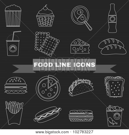 Fast Food And Snacks Big Icons Set