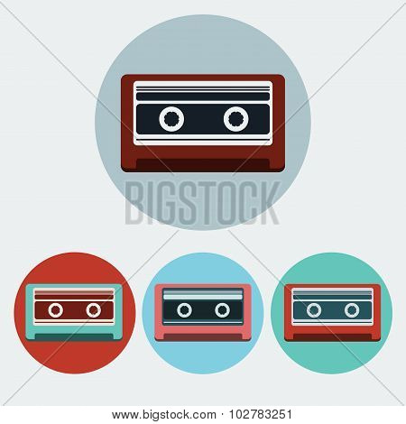 Music Tape Colorful Icon Set