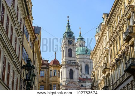 Saint Nicholas Cathedral In The End Of Bridge Street, Prague.