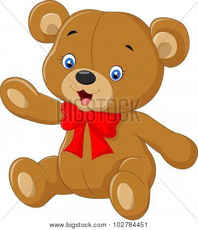 Cartoon teddy bear waving hand