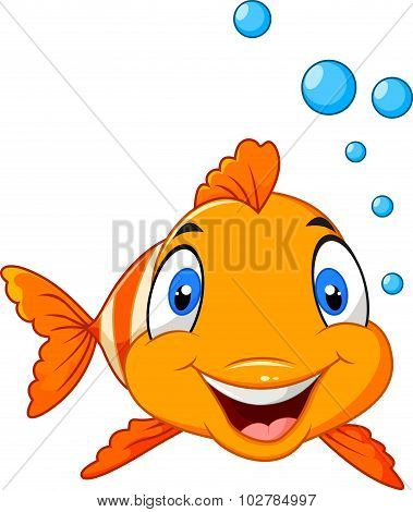 Adorable clown fish with water bubbles isolated on white background
