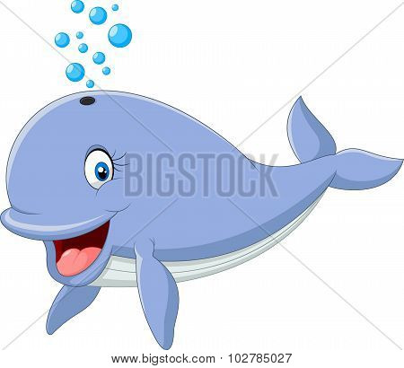 Cartoon funny blue whale isolated on white background
