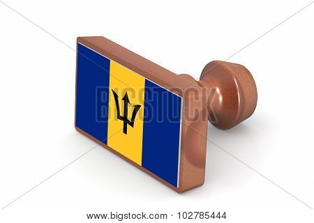 Wooden Stamp With Barbados Flag